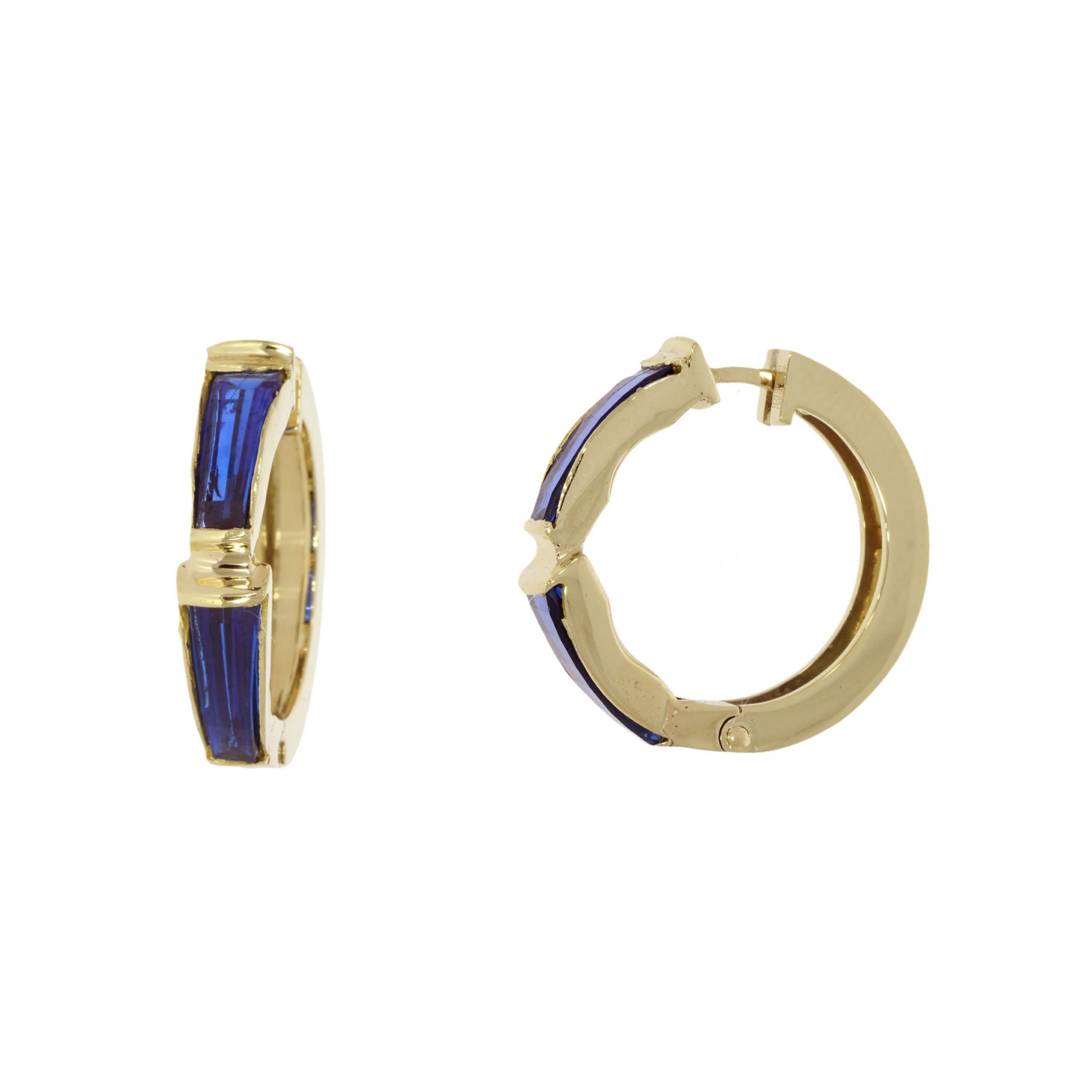 Retro 22ct and 14ct blue glass hoop earrings of unusual shape.