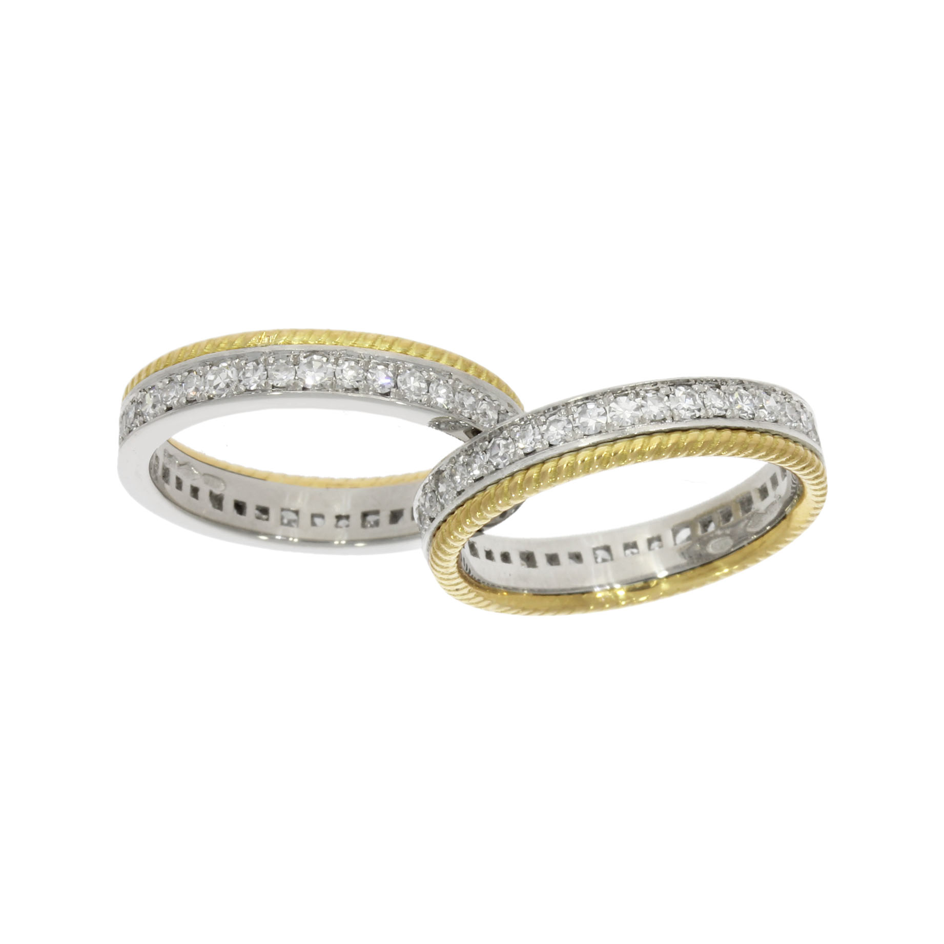 one ring splits in half shared join together clever wedding eternity ring set lesbian queer gay