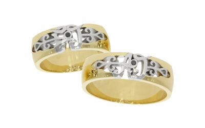 Yellow & White Gold Initial Wedding Rings