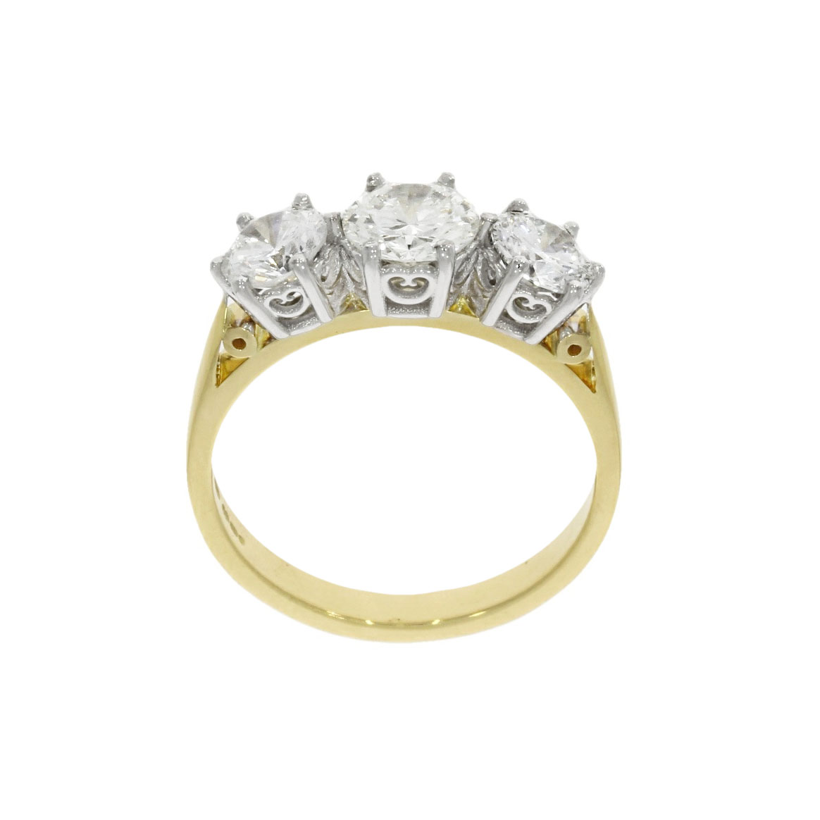 vintage style anitque updated remodelled diamond engagement ring 3 stone bath bristol uk