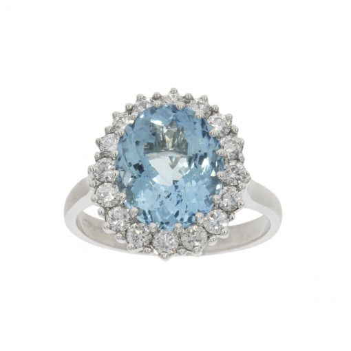 an 18ct white gold aquamarine and diamond cluster ring made by the best goldsmith in bath