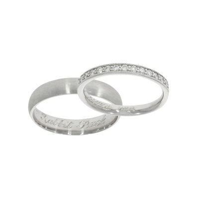Rabbit in joke engraved wedding ring set. His and hers bands.