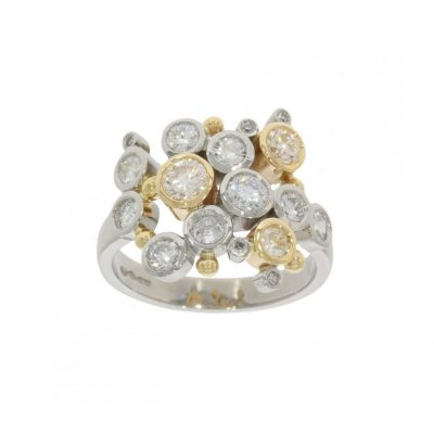 white and yellow gold bubble multi diamond cluster ring