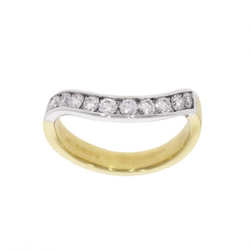 shaped half et eternity white yellow gold wedding ring bespoke wylde