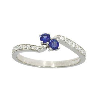 twist double two sapphire blue diamonds in shoulder sides shank