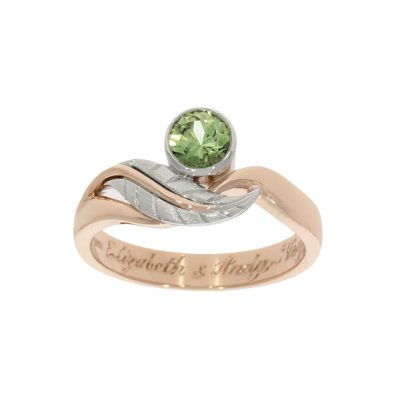 Mixed Rose Platinum Autumn Leaf Green Stone Engagement Ring