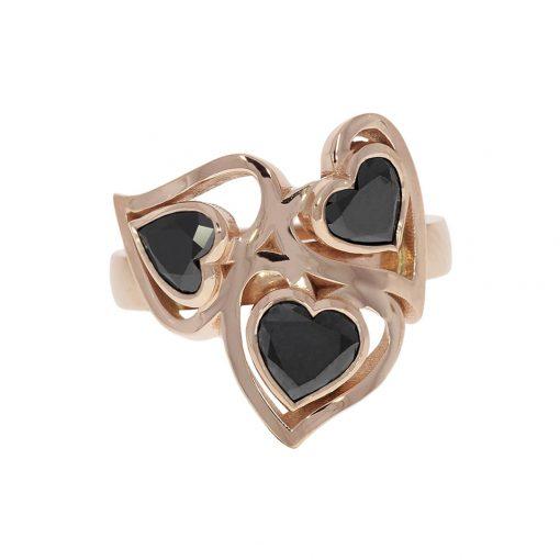 Playful fun flirty rose gold heart cut black diamond cocktail ring