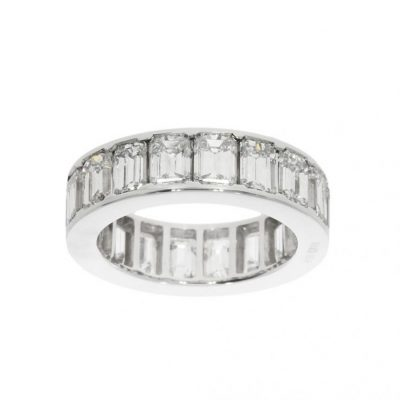 6ct emerald thick wide eternity ring bling statement