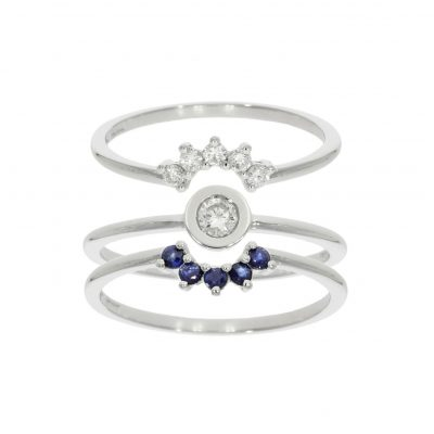 shaped diamond blue sapphire wedding engagement eternity ring set trio three 3 wylde