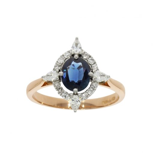 An art deco inspired open blue sapphire and diamond engagement ring
