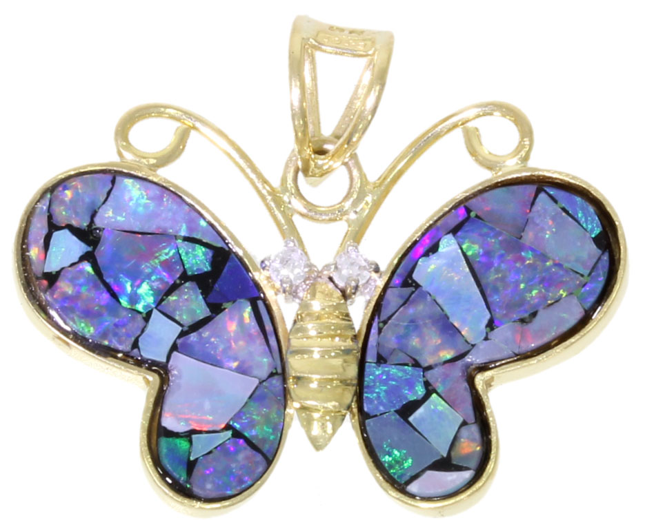 opal yellow gold diamond butterfly pendant precious gift ideas
