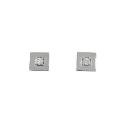 square cube white gold diamond studs modern simple
