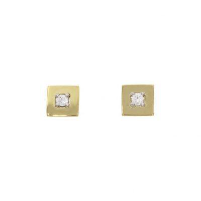yellow gold diamond square cube studs earrings bath bristol
