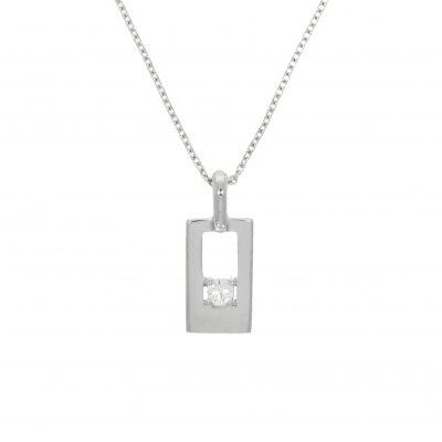 every day stylish white gold diamond cubed rectangle pendant necklace