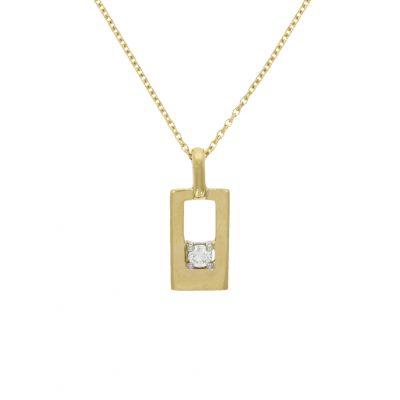 rectangle yellow gold diamond necklace stylish birthday gift present