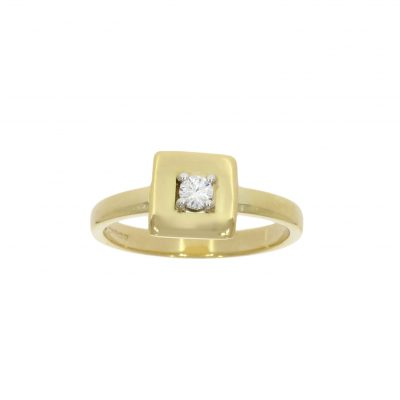 handmade square cubed yellow gold diamond modern engagement ring