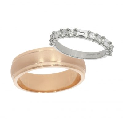 His and Hers Unmatching / Non matching Bespoke Wedding rings.
