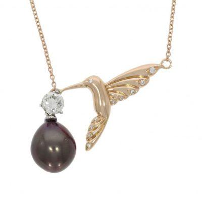 hummingbird jewellery jewelry necklace pearl diamond rose gold bird