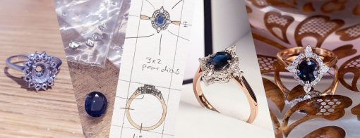 Stones from old engagement ring create a new sparkling art deco piece