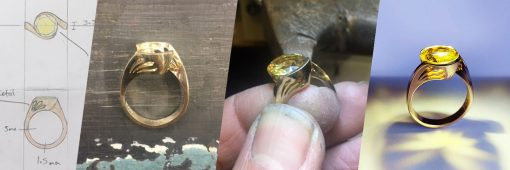 A yellow gold and stone dress ring inspired by sunshine with a pierced collet
