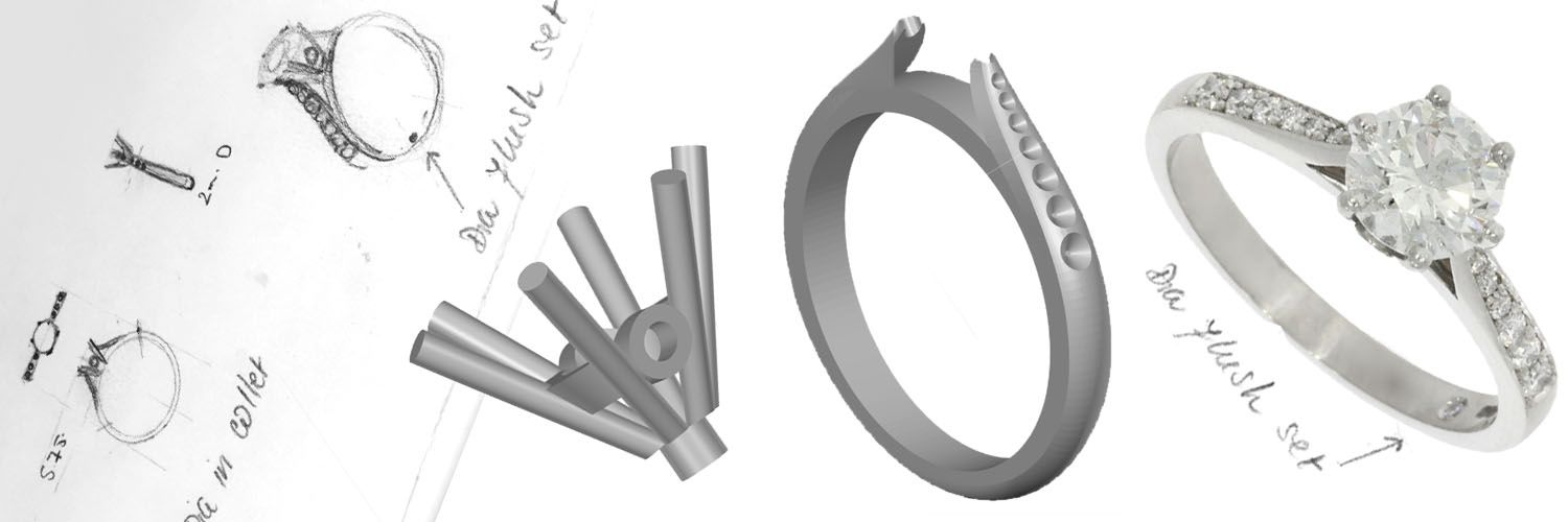 CAD cast design ring before after drawing to finished jewellery top goldsmith uk