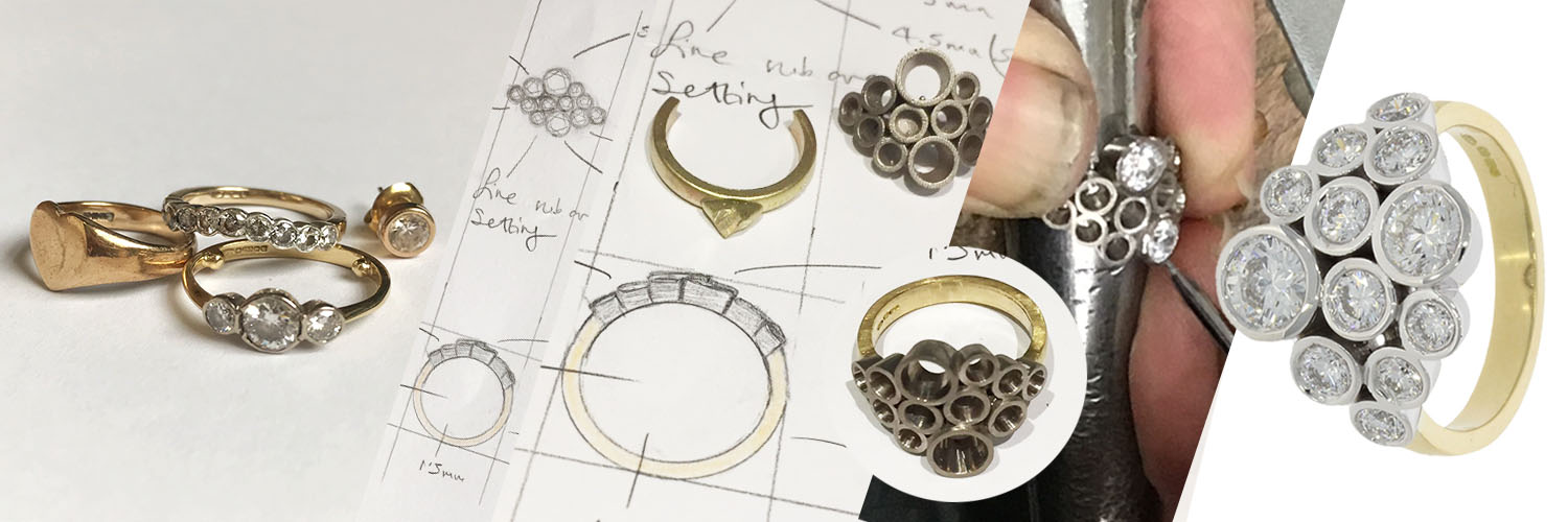 process from old vintage jewellery into new diamond cocktail ring