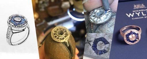making of designer jewellery art deco goldsmith stone setting in progress start finish