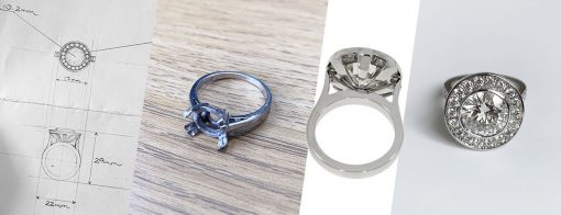 The making of an upgraded 4ct halo engagement ring in platinum