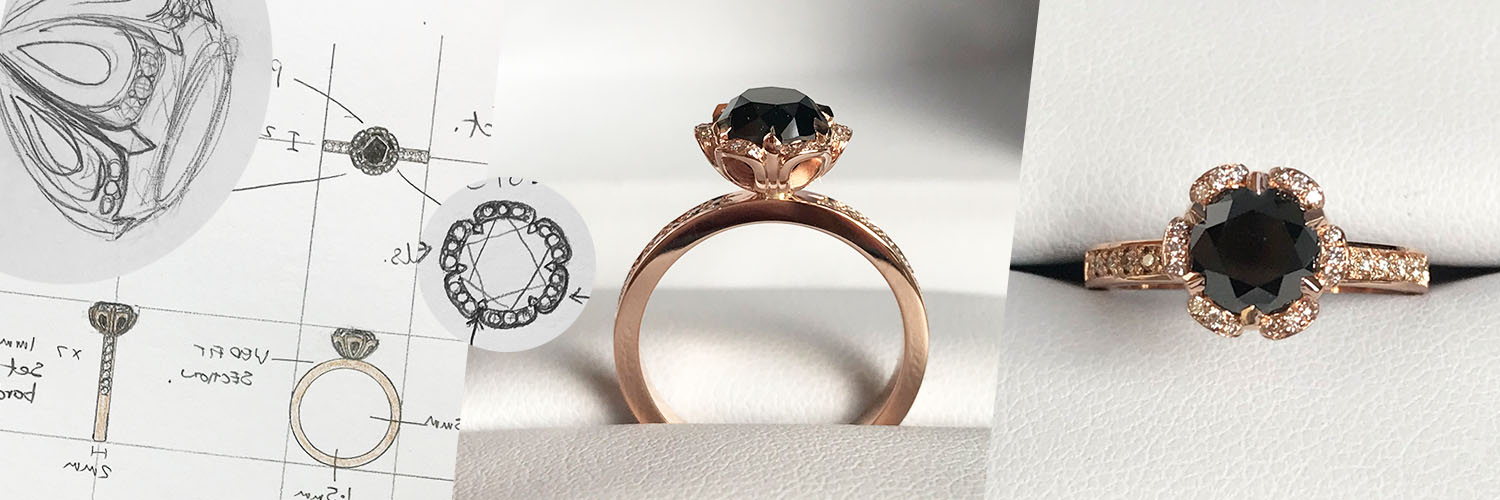 making of rose gold black diamond engagement ring with an intricate floral setting