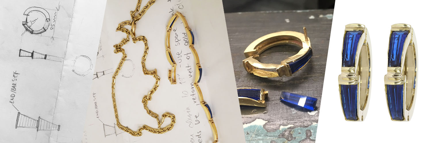 Turning a clients unworn gold jewellery into a pair of Wylde blue earrings