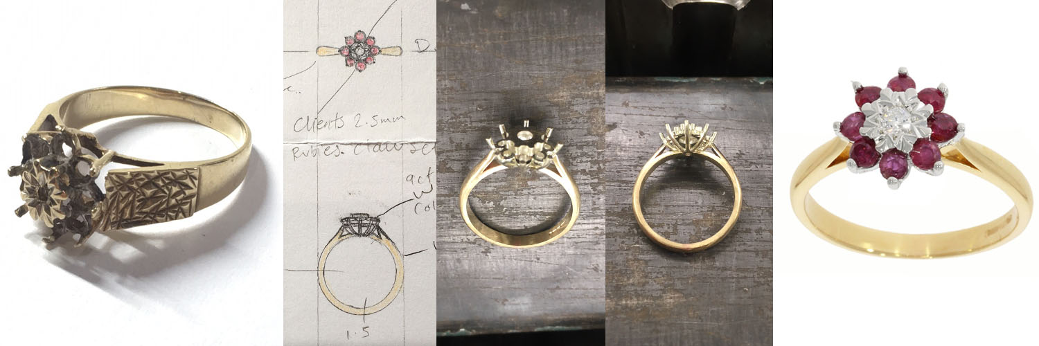 design process making of ruby cluster ring bath bristol uk vintage pre-owned old to new