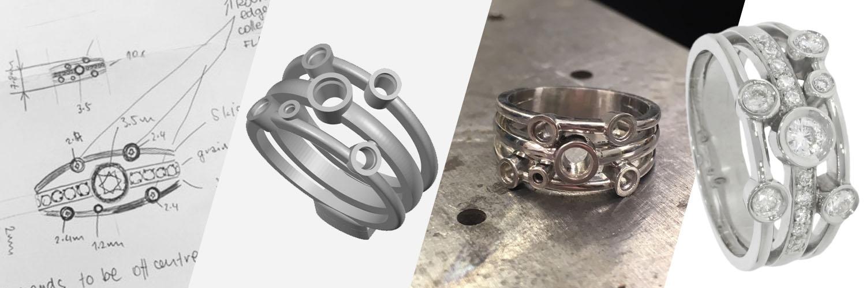 making of 3 band split cluster random diamond scatter ring bespoke