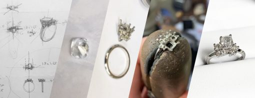 Process of making and stone setting a mixed all diamond unusual engagement ring