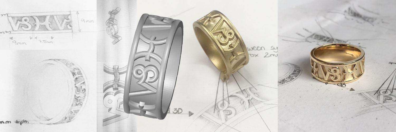 design to CAD making of zodiac men's wedding ring goldsmith workshop uk