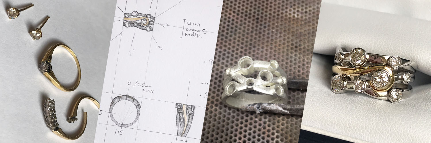 Process of remodelling an eternity and engagement ring with diamond studs