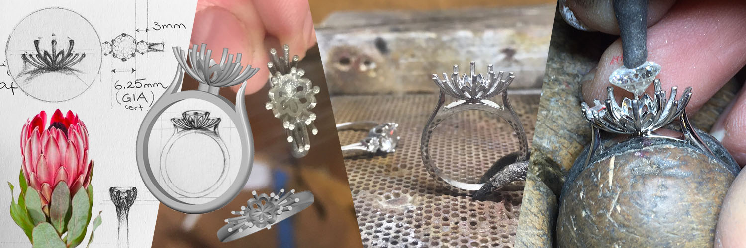 making of a floral protea flower inspired engagement ring design