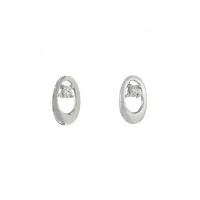white gold diamond oval loop simple studs