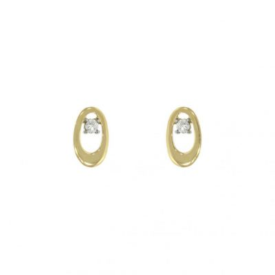 yellow gold diamond oval studs earrings simple everyday