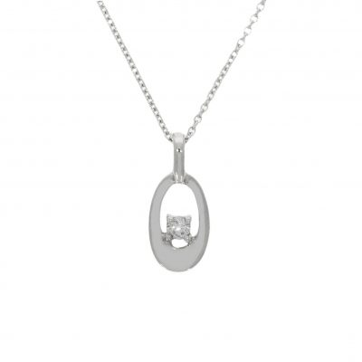 classic simple stylish white gold oval diamond necklace special gift idea