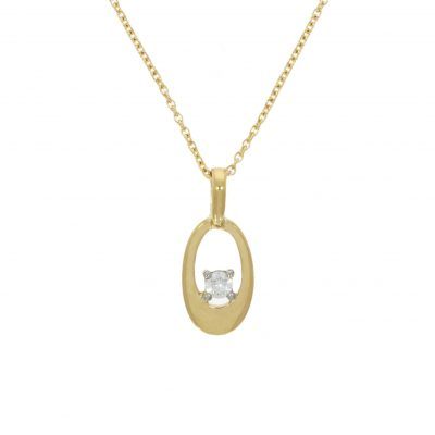 oval round circle simple diamond yellow gold necklace romantic gift ideas