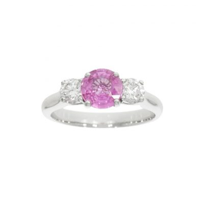 pink three stone engagement ring sapphire bright pale pastel pink uk