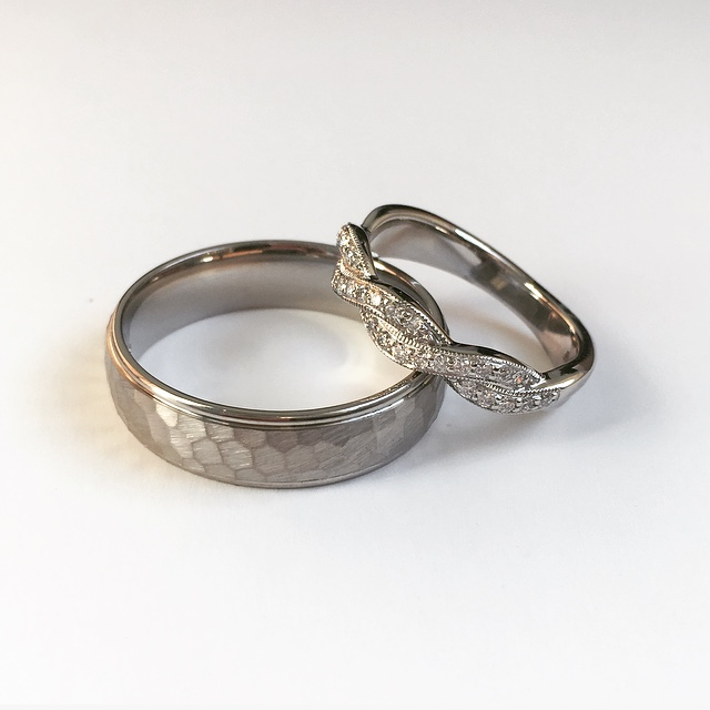 A timeless beautiful bespoke commission of two differing wedding bands at Wylde jewellers