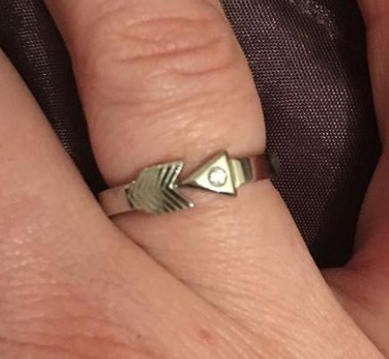 arrow head style design engagement stacking sterling silver platinum ring
