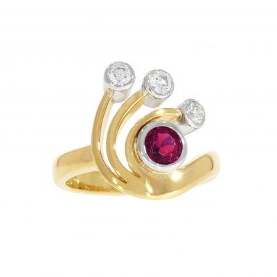 ruby diamond swirl asymmetric solid gold dress ring bath bristol uk goldsmith
