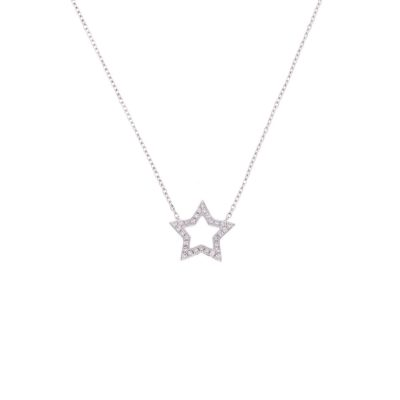 cute tiny sweet dainty star diamond necklace white gold christmas gift present ideas
