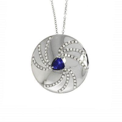 sapphire diamond blue white gold circle pendant necklace swirl galaxy space