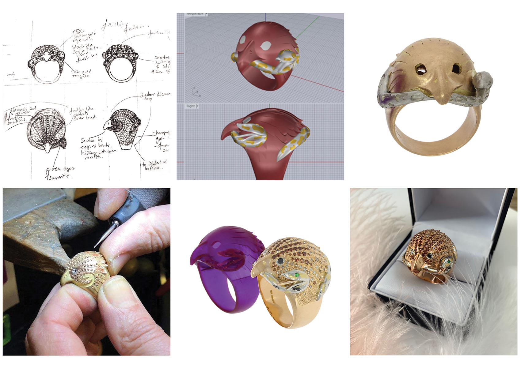 Making of a Nicholas Wylde Couture 18ct rose gold multi diamond eagle and snake ring