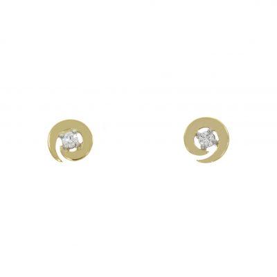 swirl spiral diamond wave earrings studs yellow gold stylish fashionable