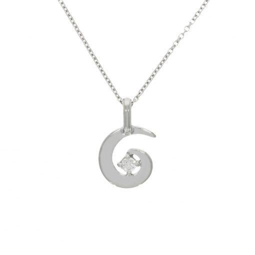 dainty small diamond white gold spiral swirl necklace pendant