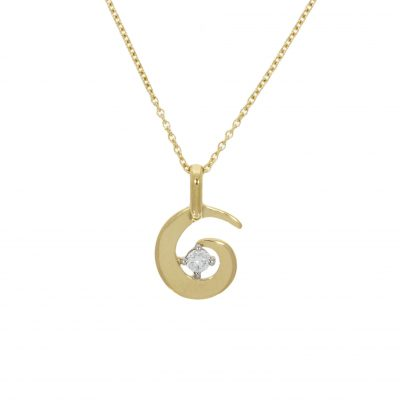 swirl spiral whirl wave diamond yellow gold pendant necklace wylde